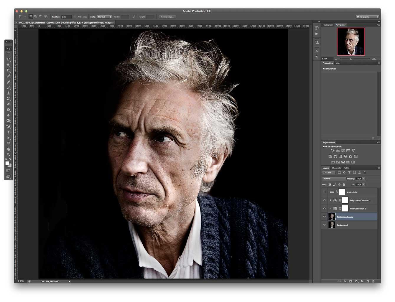 Adobe Photoshop atidarytas PSD failas išsaugotas kaip PDF