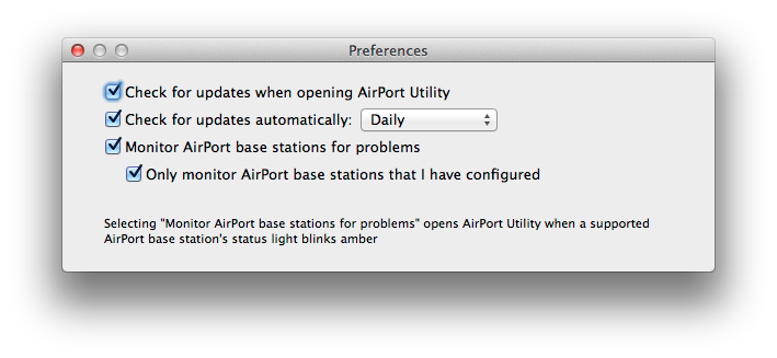 AirPort Utility Preferences