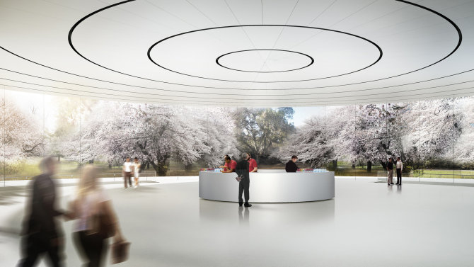 """Apple Campus 2"" įėjimas. Nuotrauka: Apple/Mashable"