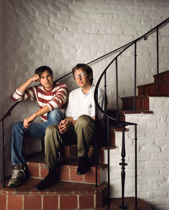 Steve Jobs ir Bill Gates. Nuotrauka: George Lange. Mountain View, Kalifornija 1991 metai.