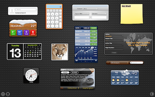 OS X Lion Dashboard