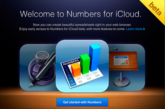 iWork for iCloud beta - Numbers - Welcome