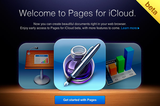 iWork for iCloud beta - Pages - Welcome