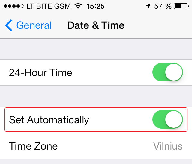 iOS 7 Time Zone > Auto
