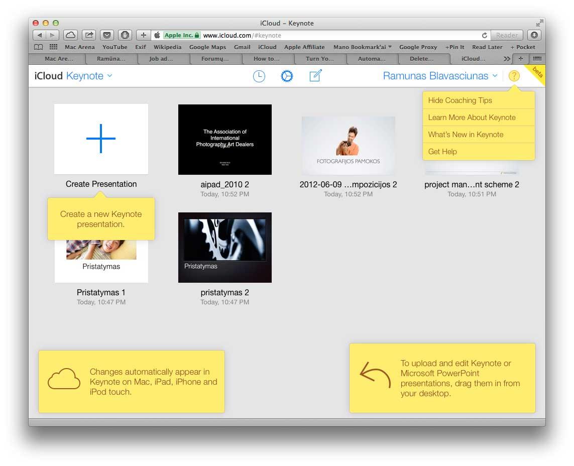 Atnaujinta Keynote aplikacija esanti  iCloud