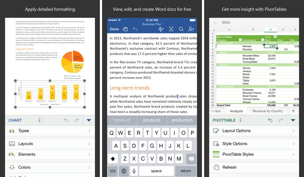 Microsoft Office aplikacijos skirtos iPhone