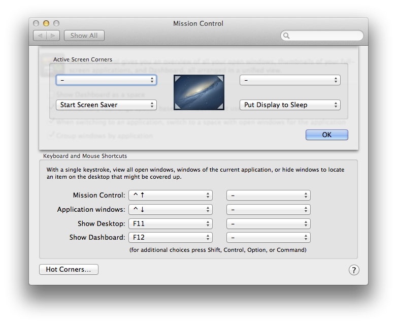 OS X System Preferences - Mission Control - Hot Corners...
