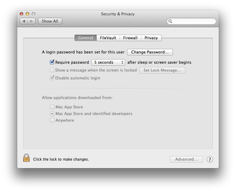 OS X System Preferences - Security & Privacy - General
