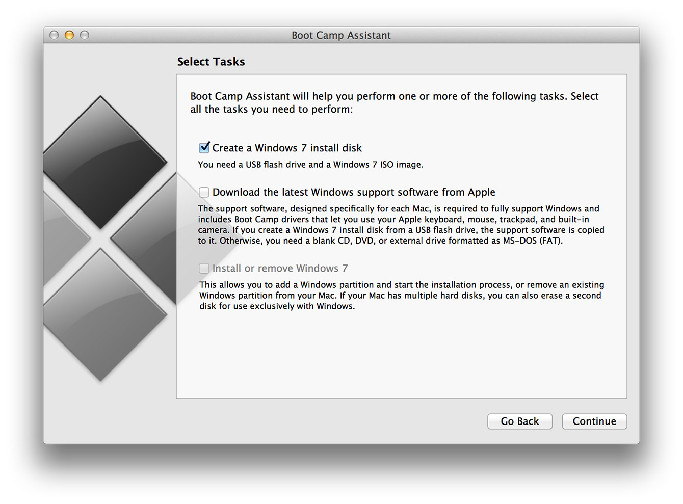 OSX Boot Camp Assistant - Select Tasks