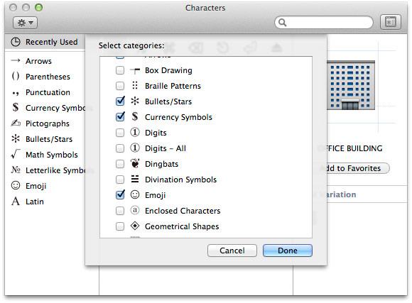 OSX simbolių paieška parinktys simbolių grupėms