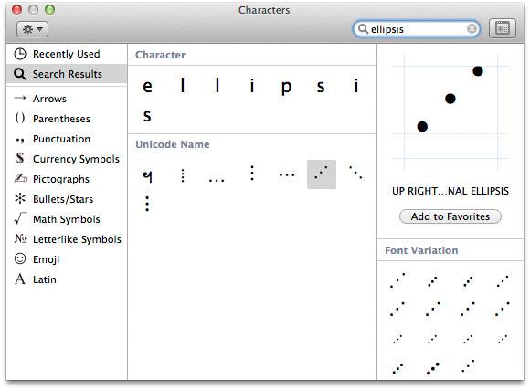 OS X simbolių paieška