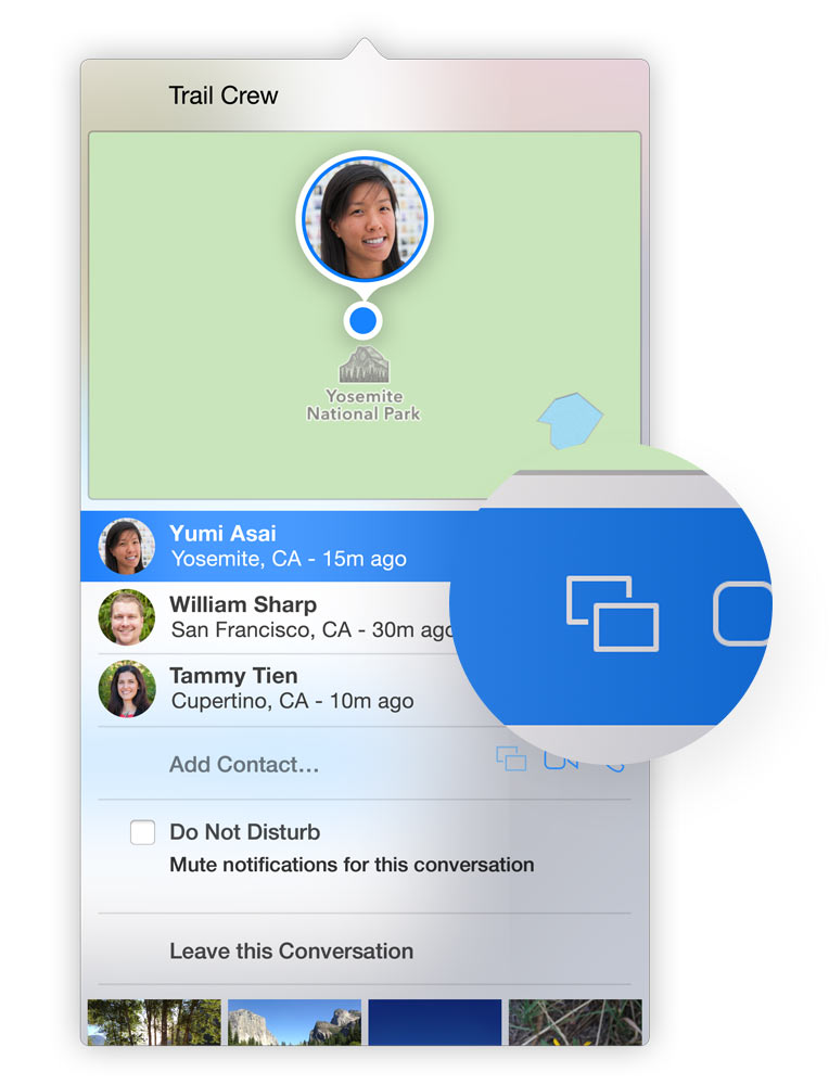 OS X Yosemite Messages aplikacija: dalinimasis ekrano vaizdu su Messages pašnekovu