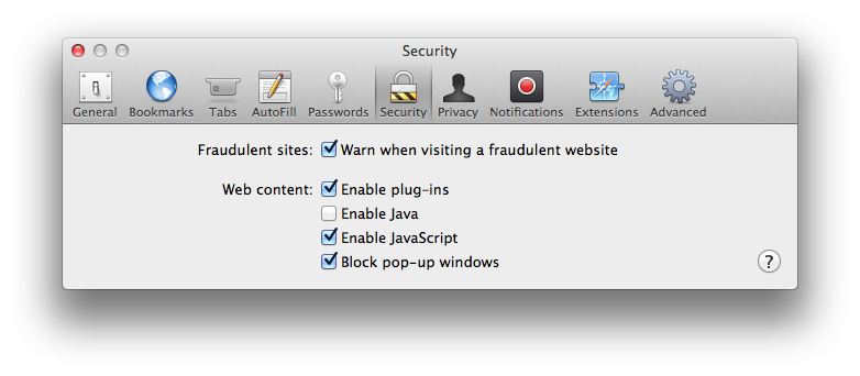 Safari Preferences Security