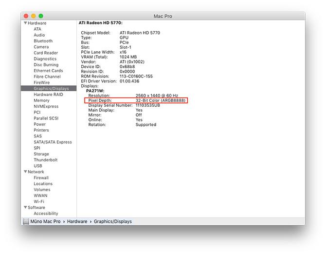 OS X El Capitan - kaip sužinoti ar Mac/monitorius palaiko 10-bitų spalvas