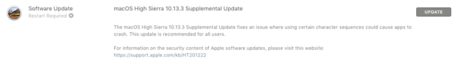 macOS High Sierra 10.13.3 Supplemental Update