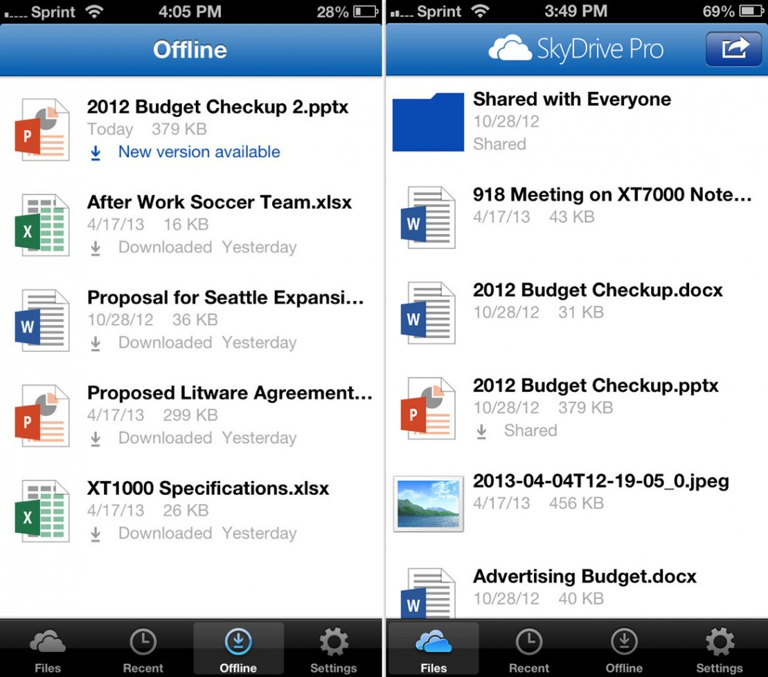SkyDrive Pro iOS