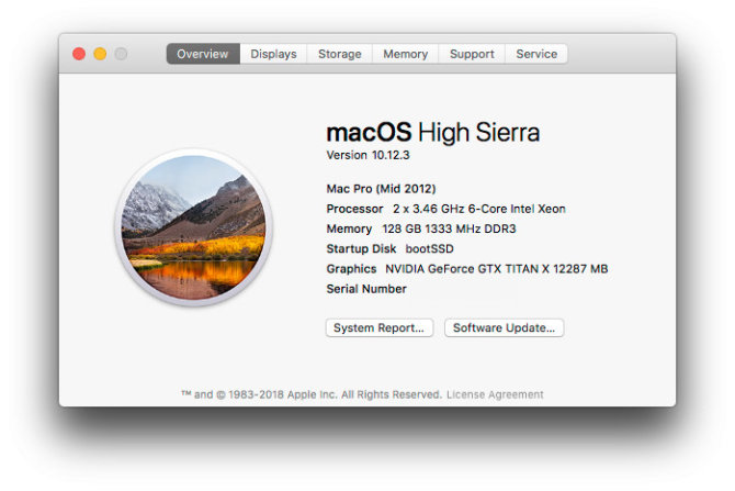 macOS High Sierra - About This Mac