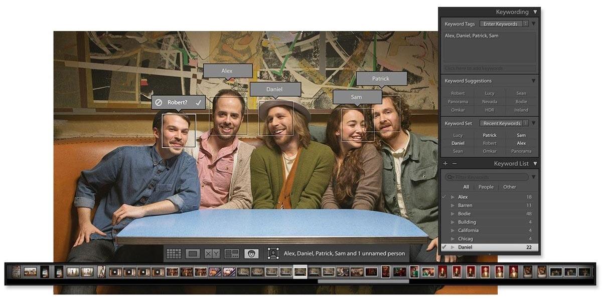 Adobe Lightroom CC/6 - veidų atpažinimo funkcija