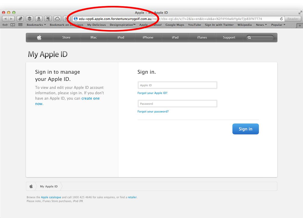 Suklastota Apple interneto svetainė