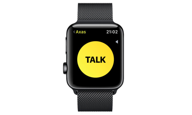 Virtualus TALK mygtukas Apple Watch su įdiegta watchOS 5