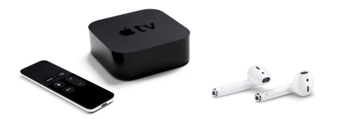 4-os kartos Apple TV ir AirPods ausinės