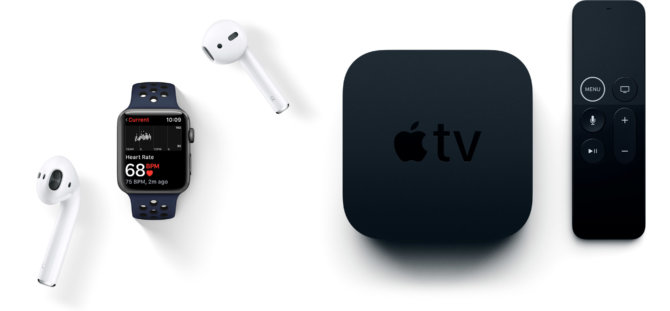 Apple Watch, AirPods ir Apple TV