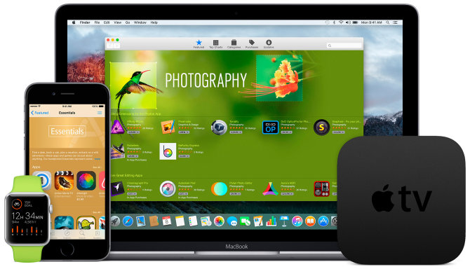 """Apple"" operacinės sistemos: ""iOS"", ""OS X"", ""tvOS"" ir ""watchOS"". Apple Watch, Apple TV, MacBook ir iPhone"