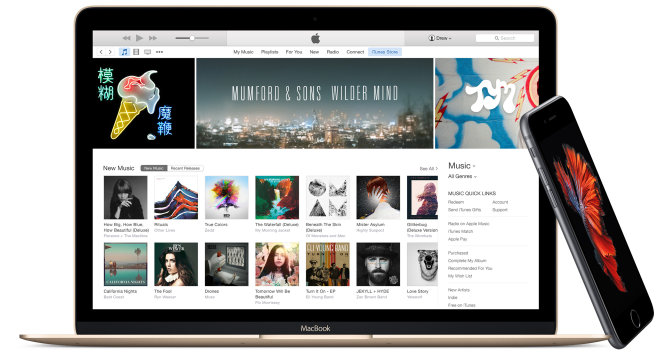 MacBook ir iPhone, iTunes