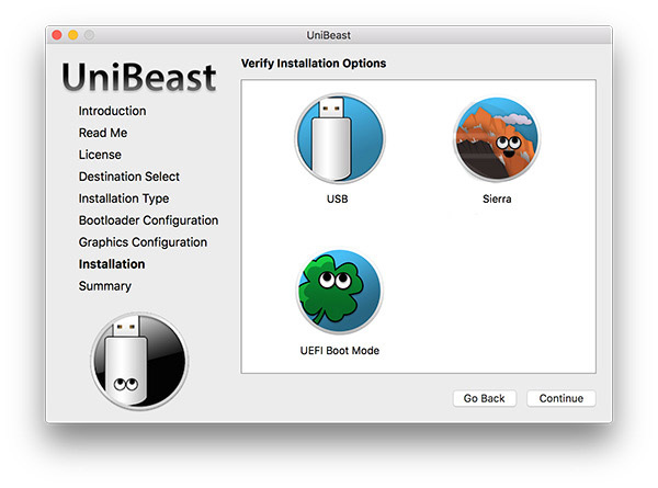 """UniBeast"" aplikacijos ""Verify Installation options"" langas"