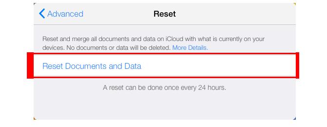 Pasirinkite Reset Documents & Data