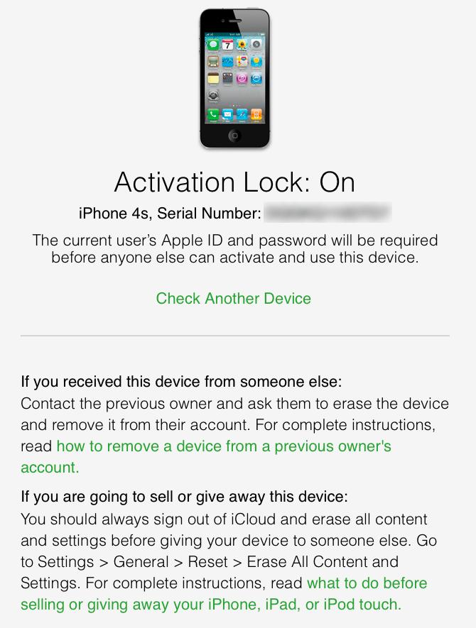 Taip atrodo langas, kai tikrinamame iPhone Activation Lock funkcija įjungta. (serijinį įrenginio numerį retušavau aš)