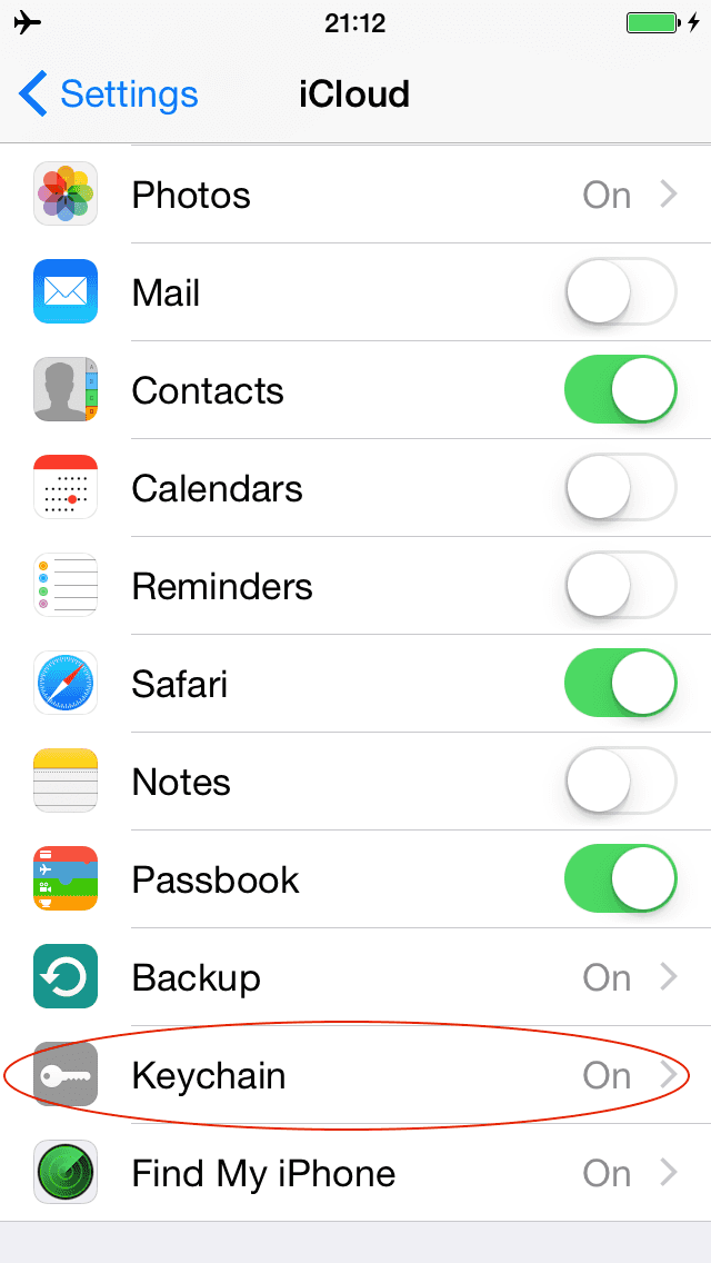 Settings, iCloud Keychain