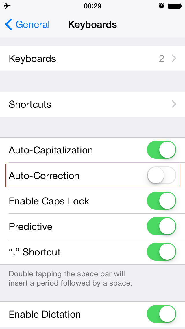 iOS Settings → General → Keyboard → Auto-Correction