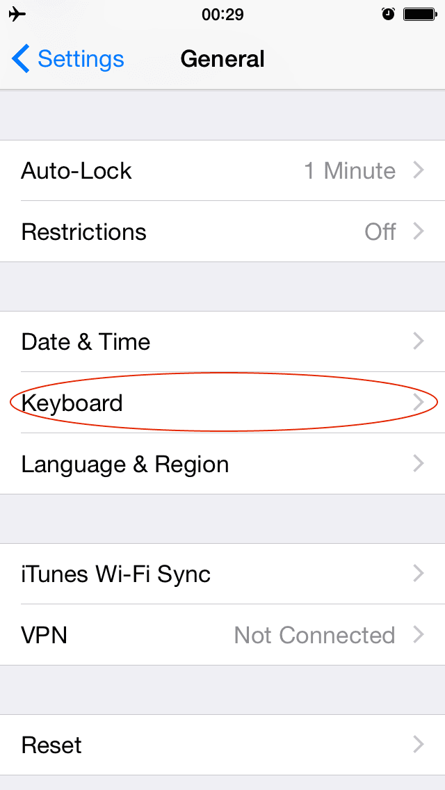iOS Settings → General → Keyboard