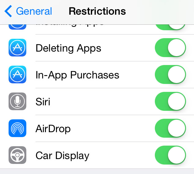 iOS Settings - Restrictions Car Display (iOS in the Car)