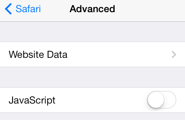 iOS 7 Safari Javascrip palaikymo išjungimas