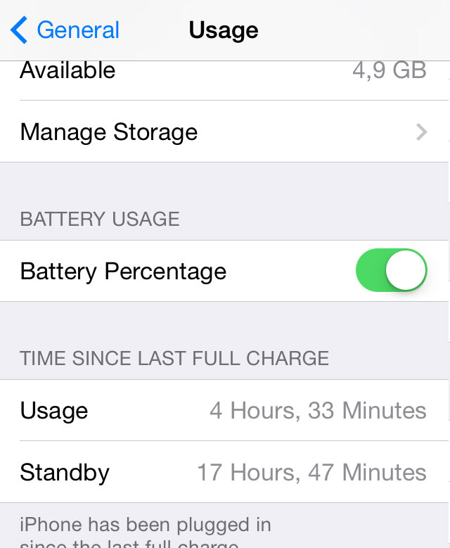 "iPhone iOS 7 Settings > General : ""TIME SINCE LAST FULL CHARGE"""