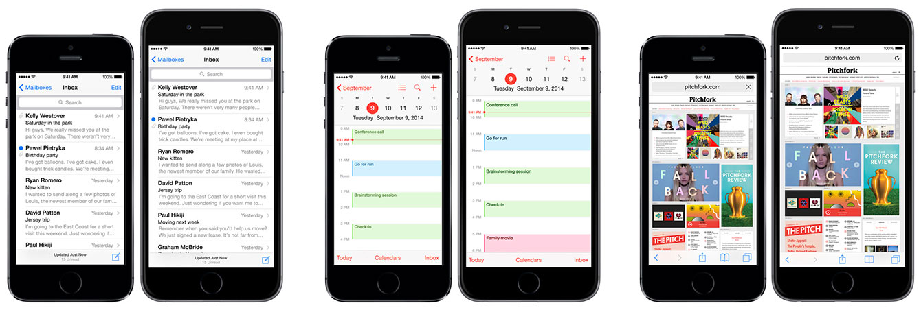 iPhone 6 ir iPhone 6 Plus: Mail, Calendar ir Safari aplikacijos