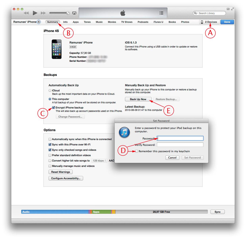 iTunes iPhone atsarginių duomenų kopijos (backup) išsaugančios slaptažodžius kūrimas