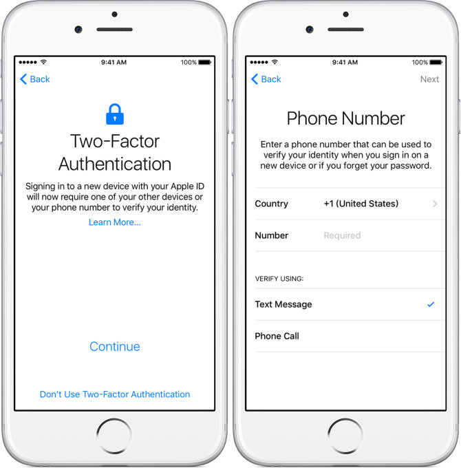 Two-factor authentication įgalinimas konfigūruojant naują iPhone
