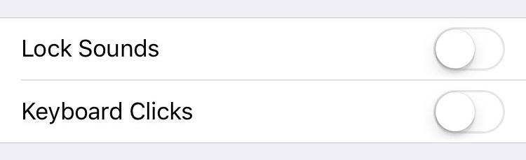 iPhone 6s, iOS 9, klaviatūros išjungti klaviatūros ir ekrano užrakinimo garsai.