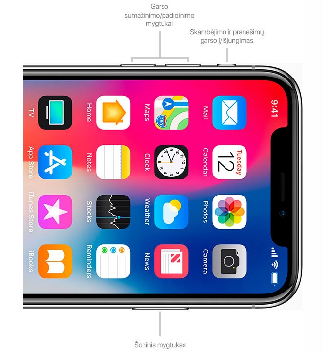 """iPhone X"" mygtukai"
