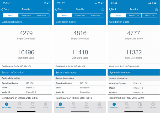 iPhone X, iPhone XS Max ir iPhone XR Geekbench testo rezultatai