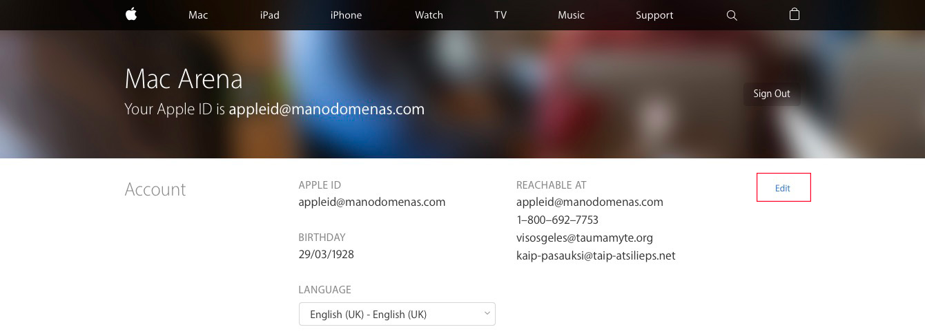 apple id how to change reachable at