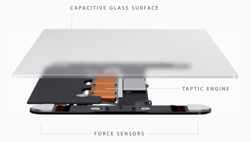 "Apple 2015 metų MacBook kompiuterio ""Force Touch"" trackpado konstrikcija"