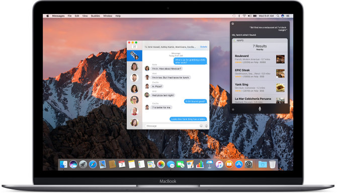 """MacBook"" kompiuteris, ""macOS Sierra"", ""Messages"" aplikacija ir Siri"