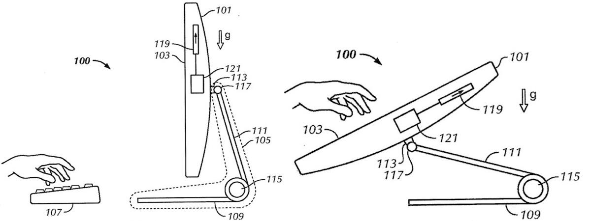 """Sulankstomo, lietimui jautrų ekraną turinčio """"iMac"""" kompiuterio """"Apple"""" patentas."""